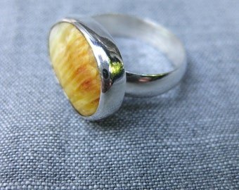 Sunrise ring--silver ring with orange and yellow shell