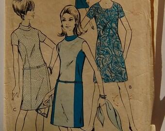 "1960s vintage original Woman W.11 sewing pattern Women's dress Bust 34"""