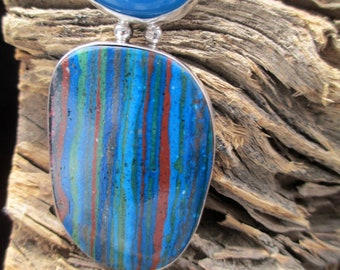 Rainbow Calsilica and Blue Agate Fine Art Jewelry Pendant