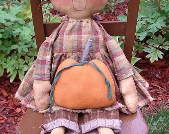 Autumn EPATTERN - primitive country fall halloween pumpkin cloth doll craft digital download sewing pattern - PDF - 1.99