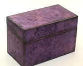RESERVED Wood Recipe Box Purple and Black Damask Ready To Ship Fits 4x6 Recipe Cards