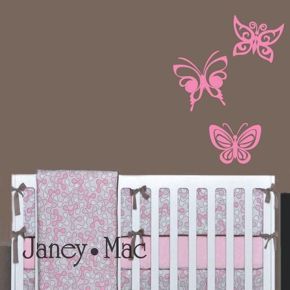 SALE - Pink Butterfly Wall Decal Set - Butterflies Wall Decor - Nursery Bedroom Girl Vinyl Wall Art Sticker
