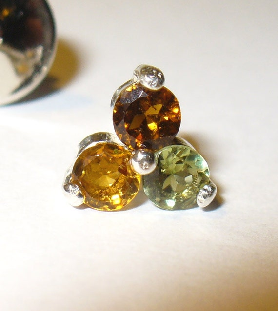 Tourmaline Sterling Tie Tack or Lapel Pin