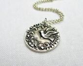 Silver Bird Medallion Necklace - PMC, Fine Silver, Sterling Silver Chain, Gift under 50, Garden Bird, Nature