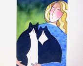 Cat Lady Art Print/ Blonde and Tuxedo Cats Limited Edition Giclee by Susan Faye