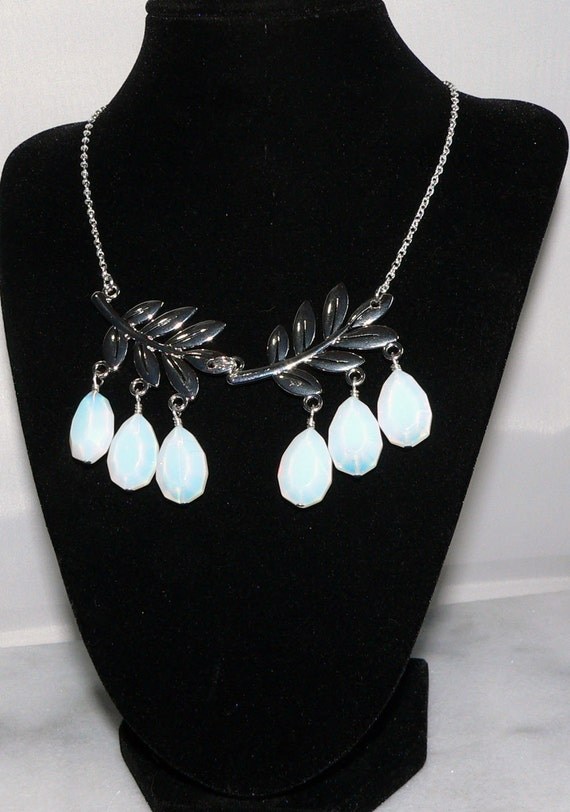 Sea Opal Necklace, Opalite Faceted Glass Necklace, Silver Leaf Pendant Jewelry, Nature Pendant, Statement Necklace