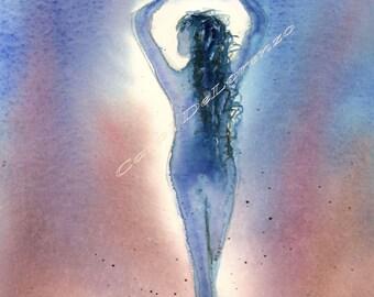 Watercolor Painting Angel Art, Angel Painting, Watercolor Angel, Spiritual Art, Print Of Original Watercolor Titled Dove Angel Elizabeth