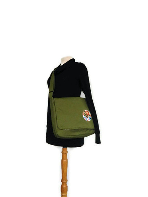 Courier Bag-- Olive Green Courier Bag with Retro Flower Interior