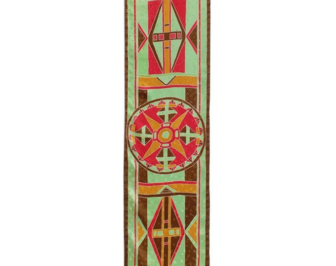 "Silk Scarf Hand Painted. Native Ameican Graphics. Beautiful Sacred Native Graphics Design. Batik Painted on Jacqard 100% silk  14""X74"""
