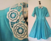Vintage 1950s Turquoise and Lace Tea Party Dress - size small