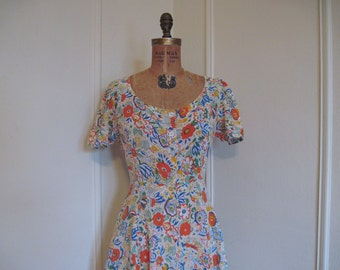 1960s Cotton Floral Gauze BOHEMIAN Maxi DRess, made in India - vintage size 9/10, small to medium