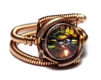 Steampunk Jewelry - Ring - Copper with Volcano Swarovski Crystal