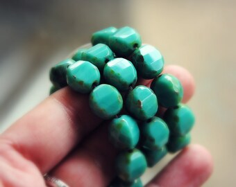 Turquoise Waters - Czech Glass, Opaque Turquoise, Picasso, Two Way, Table Cut, Facet Rounds 12mm - 4 Pc