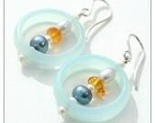 hoop earrings - chalcedony pearl amber sterling silver - mod hoop earrings - modern jewelry under 40 - colorful drop earrings - boho jewelry