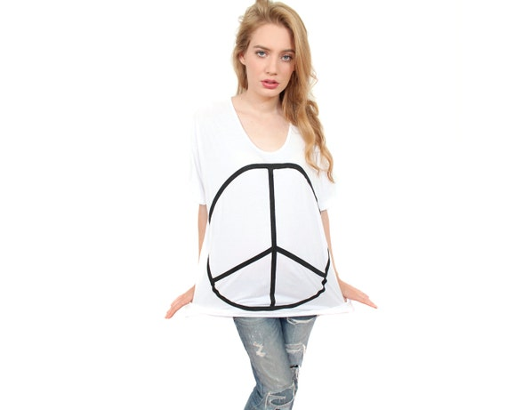 Peace tshirt white tunic slouchy top Free Size