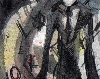 Slender Man - Signed Print of Watercolor and Ink Painting by Jen Tracy - Slender Fan Art Print