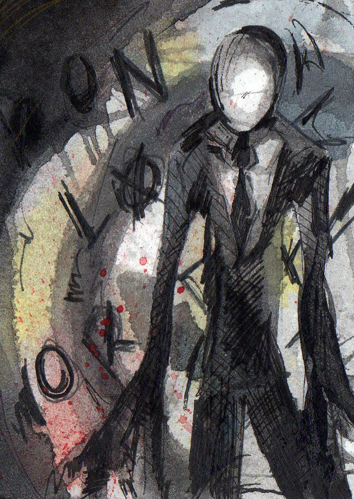 Slender Man Signed Print Of Watercolor And Ink Painting By