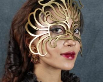 """SALE!! """"Decaflor"""" gold leather mask"""