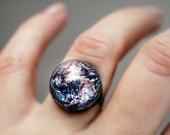 Earth Ring, Space Jewelry, Home Sweet Home, Out of this World Fashion Statement Glitter Hubble Image, Modern Resin Galaxy Jewelry