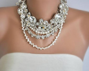 rhinestones/pearls wedding Bold ,chunky ,rhinestone ,brides necklace ,collar ,bib