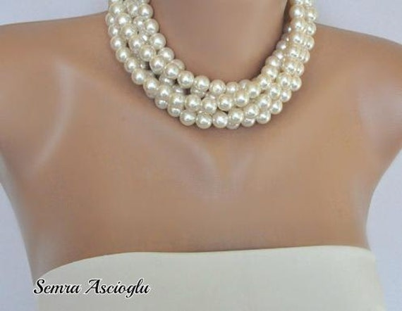 Chunky Pearl Collar,  Layered Ivory Pearl Necklace brides bridesmaid special occasion
