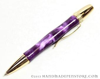 EGGPLANT (purple) acrylic pen with GOLD handmade in Polaris / Atlas Style
