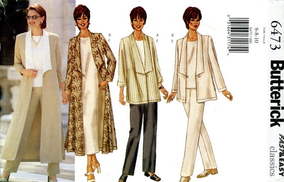 Butterick 6473 Easy Jacket Duster Top Dress Pants Size 6 8 10 Uncut Sewing Pattern 2000