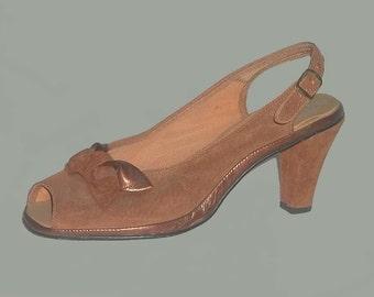 Suede 40's Style Vintage Hush Puppies Peep Toe Slingback Heels 8.5