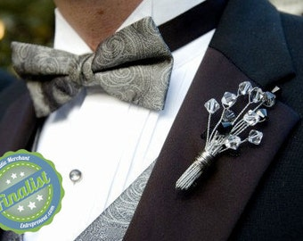 Wedding Boutonniere Swarovski Crystal  for the Groom & His Men