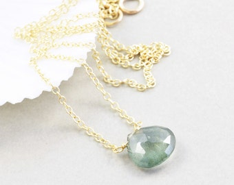 Moss Aquamarine Necklace, Green Necklace, March Birthstone