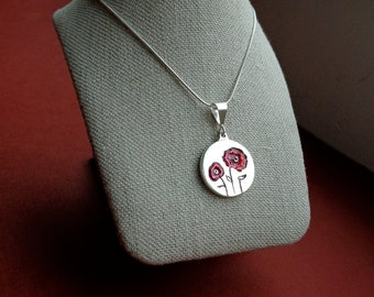 Red Poppy Photo Pendant for Moms, Soldiers Wives, Grandmothers, Sisters or Daughters Ready to Ship