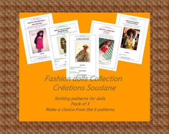 Collection pack of 3 PDF Knitting Patterns Fashion dolls Tonner Ellowyne 16 inches TO CHOOSE