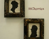 Jane Austen Style Silhouettes - A Gentleman & Young Lady - Antiqued Dark Frames with Gold on Vintage French paper - Shabby Chic