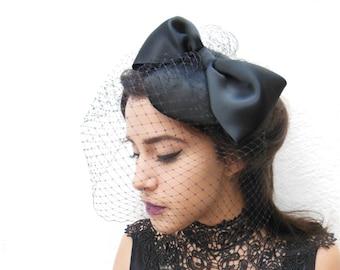 Black Birdcage Veil, Giant Bow, Women's Hat, Black Fascinator, Hair Accessory, Wedding Veil, Classic Bridal, Victorian Costume, Romantic