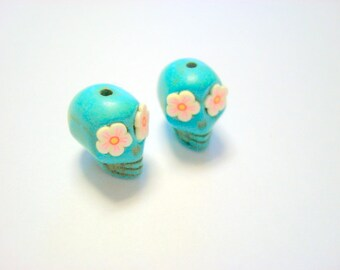 Cherry Blossom Eyes in Small Turquoise Day of The Dead Sugar Skull Beads-12mm