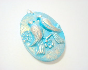 Turquoise and Silver Lovebird Polymer Clay Pendant