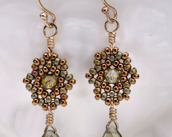 Beadwoven Drop Earrings / Olivine Cubic Zirconia Briolettes / Gold-Filled Earrings/ Subtle Sparkle/ Lightweight/ Sophisticated - - - Brietta