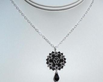Beadwoven Single Mandala Necklace / Jet Black Swarovski Crystal Briolette / Sterling Silver Chain / Intricate / Delicate - - - Giane