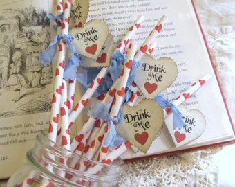 Alice Paper Party Drink Stir Straws with Red Heart Drink Me Tags - Choose Ribbon Colors - Set of 18 - Tea Party Baby Bridal Shower