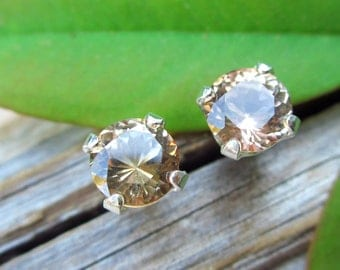 Medium Tan Topaz Earrings in Gold, Silver, Platinum with Genuine Gems, 5mm Lot 3 - Free Gift Wrapping