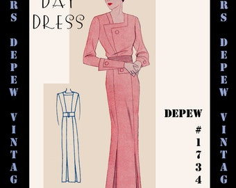 Vintage Sewing Pattern 1930's Day Dress in Any Size- PLUS Size Included- Depew 1734 - A Draft at Home Pattern -INSTANT DOWNLOAD-
