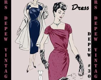 Vintage Sewing Pattern 1950's French Cocktail Party Dress Digital Reproduction Depew 3015 -INSTANT DOWNLOAD-