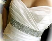 Confetti Pearl and Rhinestone Custom Order Bridal Sash for Wedding Dress