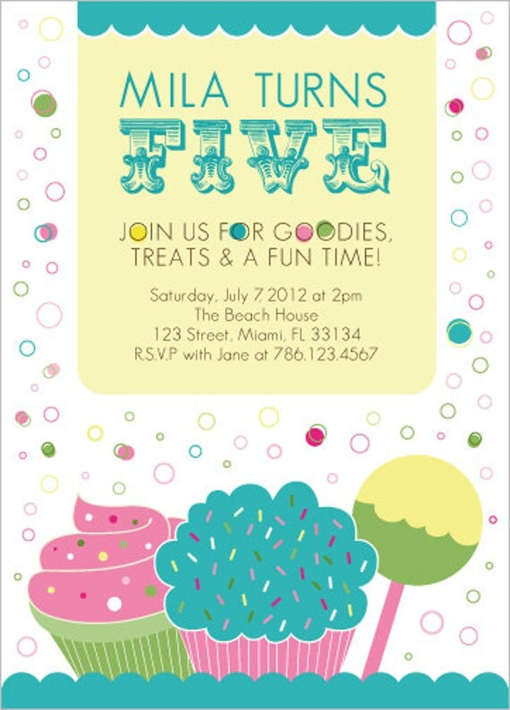 Sweets Children's PARTY Invitation - Digital DIY Print Your Own file 5x7 or 4x6 inches -Item 113