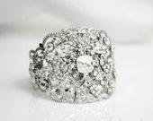 Crystal Bridal Cuff Bracelet  Wedding Jewelry Wide Statement Cuff Bridal Bracelet Swarovski Rhinestone  FAITH