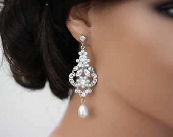 Wedding Earrings Chandelier Bridal Earrings White Pearl Drop Pearl Rhinestone Art deco Flower Earrings  AMY