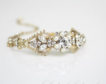 Gold Cuff bracelet  Bridal Cuff Bracelet Swarovski Crystal Cuff Vintage Wedding Jewelry white Ivory Pearl Rhinestone PARIS CUFF BRACELET