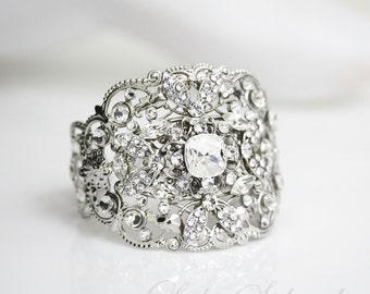Crystal Bridal Cuff Bracelet  Wedding Jewelry Wide Statement Cuff Bridal Bracelet Swarovski Rhinestone  FAITH