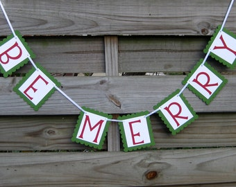 Be Merry Christmas Banner in Red and Green