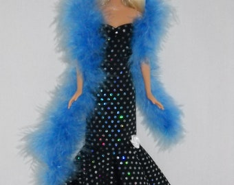 Barbie Doll Sweetheart Dress Handmade Black Gown with Blue Iridescent Sequin Dots